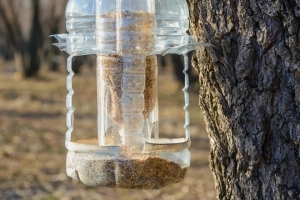 Bird feeder made from plastic bottles