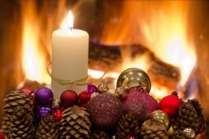 Holiday decor near fireplace