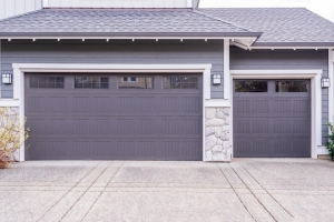Three-car garage painted purple