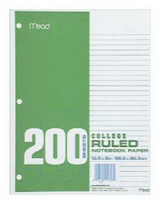 Image of College-Ruled Filler Paper, White, 10.5 x 8-In., 200-Ct.