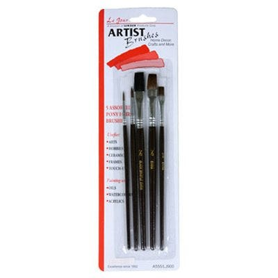 5-Pc. Camel Hair & Bristle Artist Brush Set