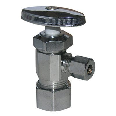 Pipe Fitting, Angle Valve, Chrome, Lead-Free, 5/8 x 1/4-In.