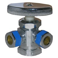 Dual Outlet Water Valve, 3-Way, 1/2 x 3/8-In.