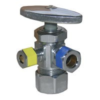 Pipe Fitting, 3-Way Angle Valve, Chrome, Lead-Free, 5/8 x 3/8 x 1/4-In. Compression