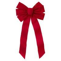Christmas Bow, 7-Loop, Red Velvet, 10 x 22 x 2-3/4-In.
