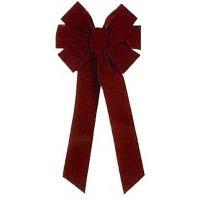 Outdoor Christmas Bow, 7-Loop, Burgundy Velvet, 10 x 22-In.