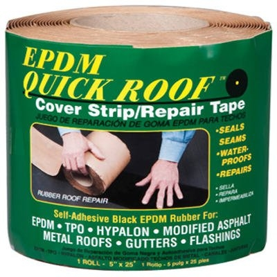 Image of EPDM Roof Cover Strip, Self-Adhesive, Black EPDM, 5-In. x 25-Ft.
