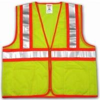 Hi-Viz Vest, ANSI 107 Class II, Lime/Yellow Polyester Mesh, Small/Medium