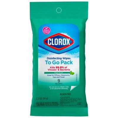 Disinfecting Wipes To Go, Fresh Scent, 9-Ct.