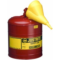 Safety Gas Can, Red Metal, With Funnel, 5-Gallons