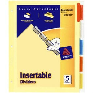 Index Dividers, Heavy-Duty, 5-Color Tab, 8.5 x 11-In.