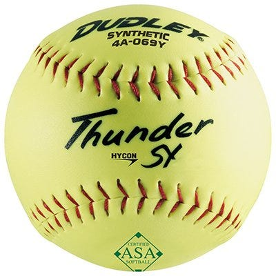 Thunder Slow-Pitch Softball, Yellow, 12-In.