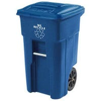 Recycle Cart, Blue, Wheeled, 32-Gal.