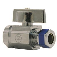 Angle Stop Valve, 1/4-Turn, Chrome, 3/8 FPT x 3/8-In. Compression Outlet