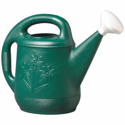 Watering Can, Classic Green Plastic, 2-Gallons