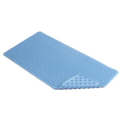 Image of Bath Mat, Wave, Blue Rubber, 18 x 36-In.