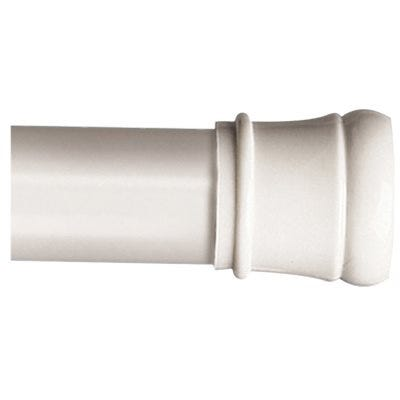 Shower Tension Rod, Adjustable, White, 42 to 72-In.