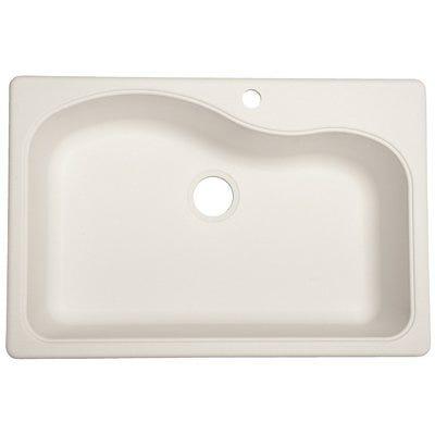 Granite Composite Sink, Single Bowl, White, 22 x 33-In.