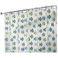 Shower Curtain, Blue/Green Fish, Clear, 72 x 72-In.