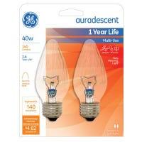 Chandelier Light Bulbs, Flame Shape, Auradescent, Faceted, 40-Watts, 2-Pk.