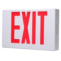 LED Exit Sign, AC, Red & White Thermoplastic