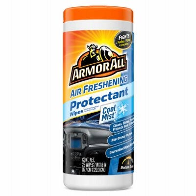 Air Freshening Car Protectant Wipes, Cool Mist, 25-Ct.