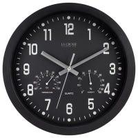 Wall Clock, Black, With Temp/Humidity, 12-In.