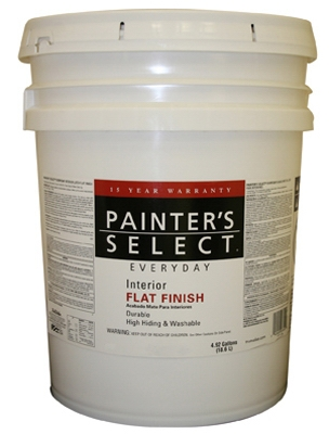 Image of Everyday Interior Paint, Flat, Latex, White, 5-Gal.