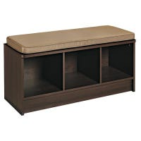 Storage Bench, With 3-Cubes, Espresso with Mocha Cushion, 14 x 35.27 x 18.5-In.