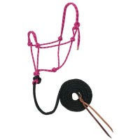 Horse Halter, Hand-Knotted, Raspberry/Black/White Rope, 1/2-In. x 10-Ft.