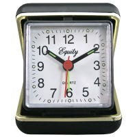 Travel Alarm Clock,  Quartz Movement, Fold-Up Case