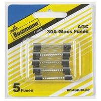 Automotive Fuses, Glass, 30-Amp, .25 x 1.25-In., 5-Pk.