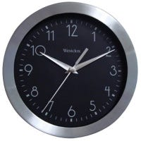 Wall Clock, Black & Silver, 9-In.