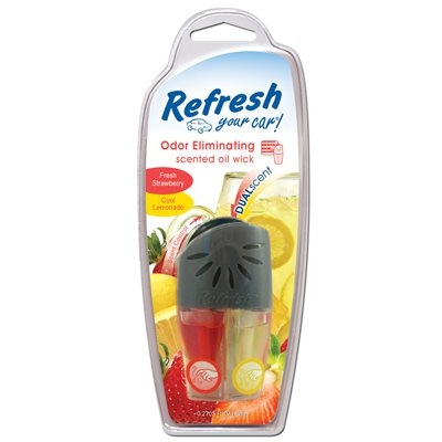 Image of Car Air Freshener, Vent Clip, Adjustable Oil Wick With Fresh Strawberry/Cool Lemonade Scents