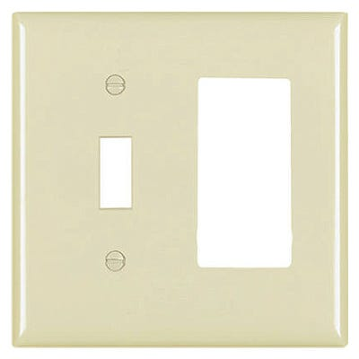 Wall Plate, 1-Toggle & 1 Decorator Opening, Urea, Ivory