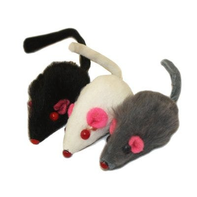 Cat Toy, Real Fur Mice Catnip, 1.25-In.