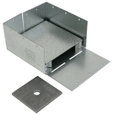 Image of Adjustable Post Base, 1-In. Stand Off Ht., 16-Gauge Steel, 6 x 6-In.
