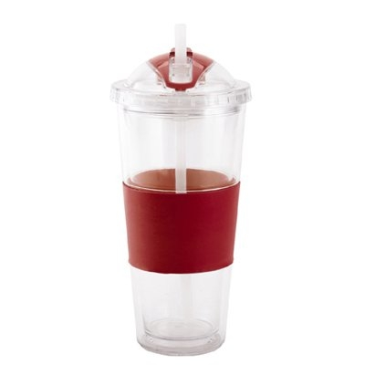 Image of Iced Beverage Cup, Double-Wall Plastic, Red Straw & Sleeve, 20-oz.