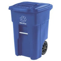 Recycle Cart, Blue, Wheeled, 48-Gal.