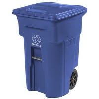 Recycle Cart, Blue, Wheeled, 64-Gal.