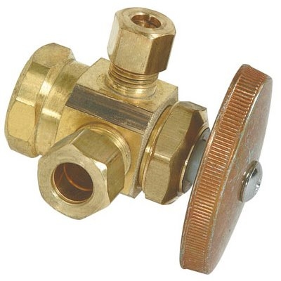 Image of Brass Dual Outlet Stop Valve, 1/2-In. x 3/8-In. x 1/4-In.
