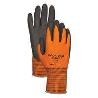 Work Gloves, Double-Coated Nitrile Palm, Orange Nylon, Large