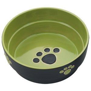 Dog Dish, Green Stoneware, 7-In.