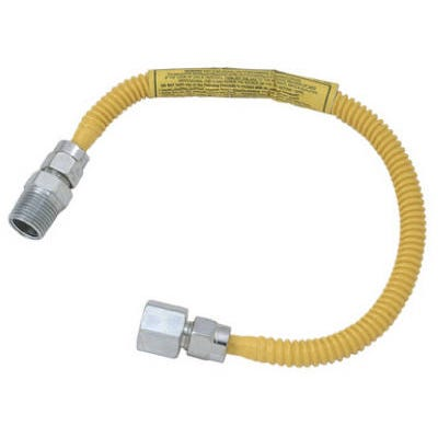 Stainless Steel Gas Appliance Gas Connector, 18-In., 1/4-In. I.D. x 3/8-In. O.D.