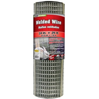 Galvanized Welded Wire Fence, 2 x 1-In. Mesh, 14-Ga., 2 x 25-Ft.
