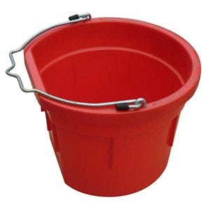 Utility Bucket, Flat Sided, Red Resin, 8-Qts.