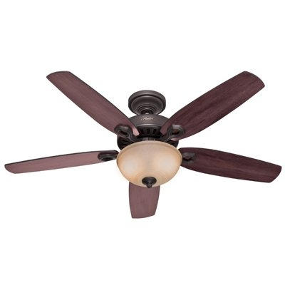 Image of Builder Deluxe Ceiling Fan with Light, Bronze, 5 Blades, 52-In.