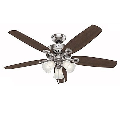 Image of Builder Plus Ceiling Fan with Light, Brushed Nickel, 5 Blades, 52-In.