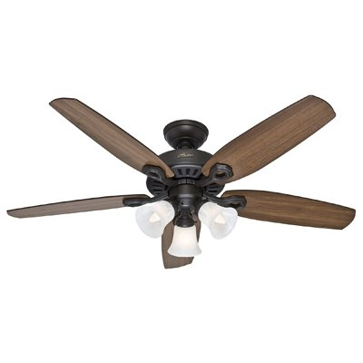 Image of Builder Plus Ceiling Fan with Light, Bronze, 5 Blades, 52-In.