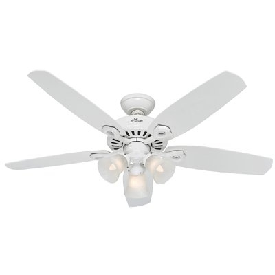 Image of Builder Deluxe Ceiling Fan with Light, White, 5 Blades, 52-In.